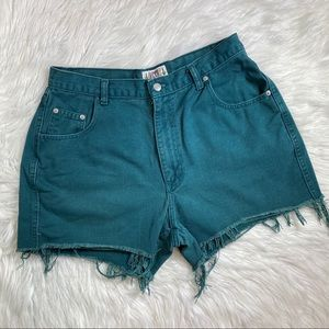 Vintage high waisted cut off green jean shorts